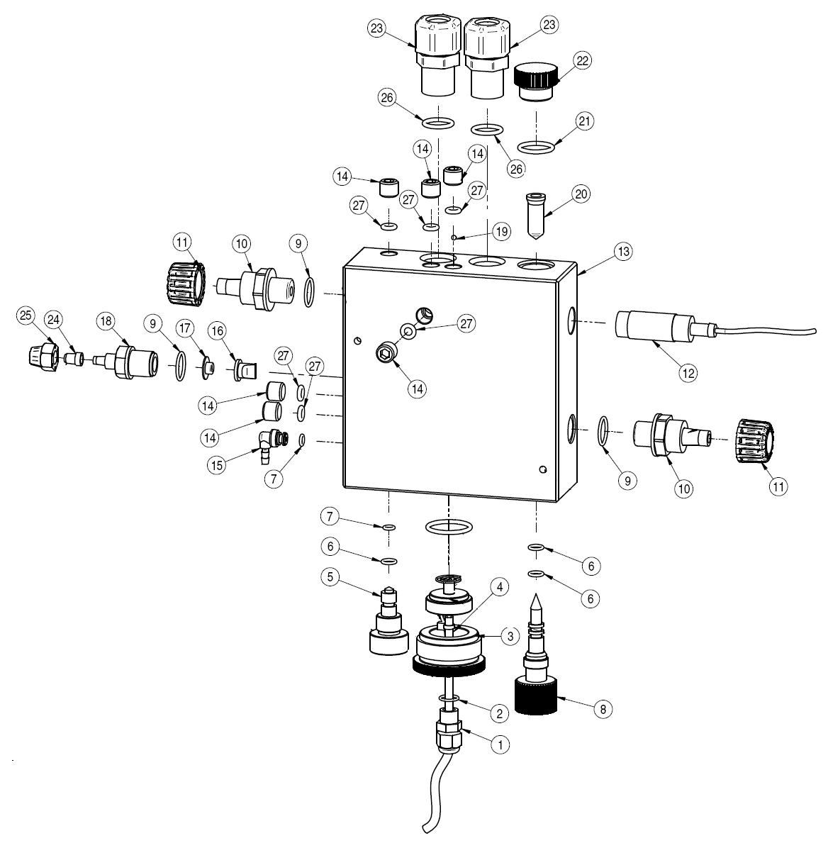 Деталировка держателя датчиков SCLO 3 HYCHLOR