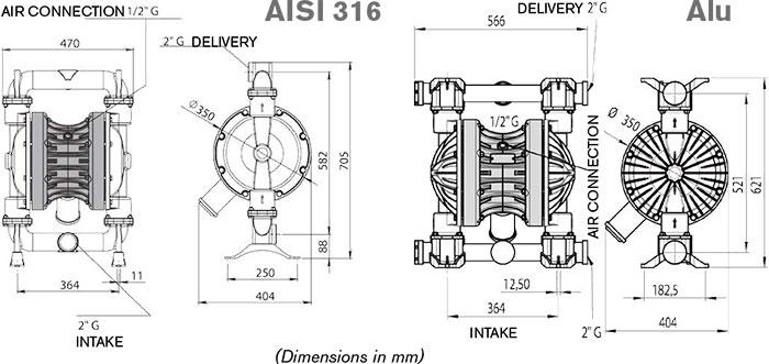 Мембранный насос высокой производительности BOXER 502 Metal